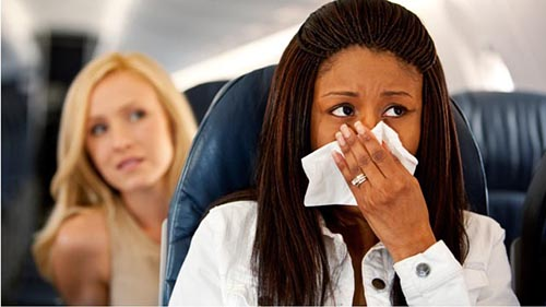 Airplane seats as a ticket to infection