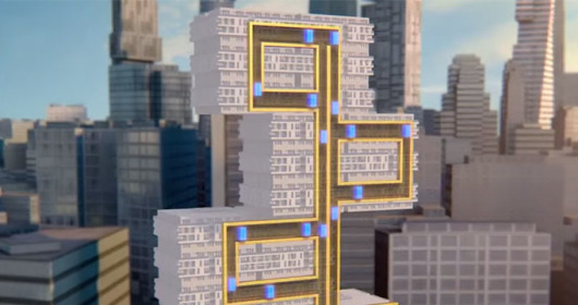 Elevator that moves horizontally