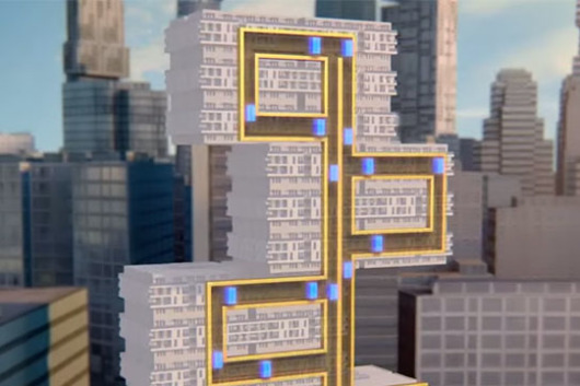 Elevator that moves horizontally